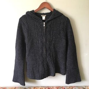 J. Crew Cable-Knit Wool Hooded Cardigan Sweater